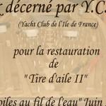 Restauration de vieux bateaux en bois : Prix décerné à Patrice Mabire par le Yach Club de l'Ile de France